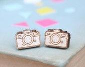 Laser Cut Wooden Camera Stud Earrings