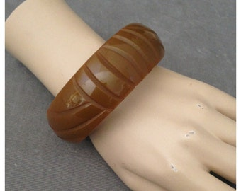 Chunky, Clunky Deeply Carved Bakelite Bangle in Soft Martini Olive Green