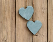 Hearts on a String - Blue wood heart rustic primitive home decor