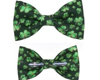 Green Shamrocks Clip On Bow Tie Bowtie St Patricks Day