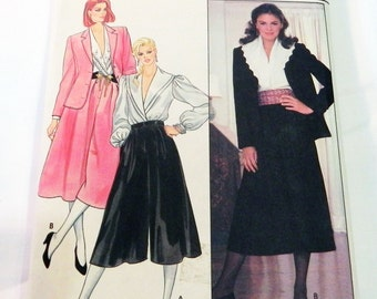 "1980s Wide Leg Culottes, Jacket and Blouse sewing pattern Butterick 4644 Size 14 Bust 36"" UNCUT FF"