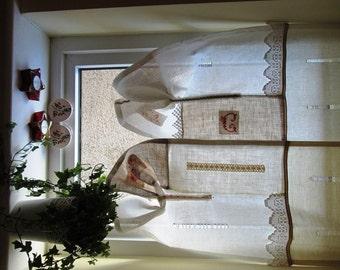 Linen curtain exclusive design , OAK design curtain,Linen and lace linenartisan design