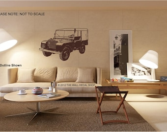 """1948 Landrover Series 1 - 80"""" - Wall Decal - Wall art Sticker - ( Black outline shown )"""