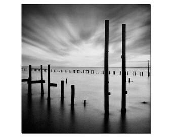 Beach Photography, Punta Gorda Florida, Pinhole Photography, Black and White Nautical Photo, Poles in the Water