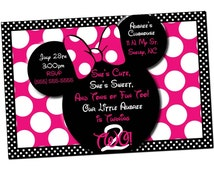 Minnie Mouse Invitations, Minnie Mouse Birthday, Pink Minnie Mouse invitations, Minnie Mouse party