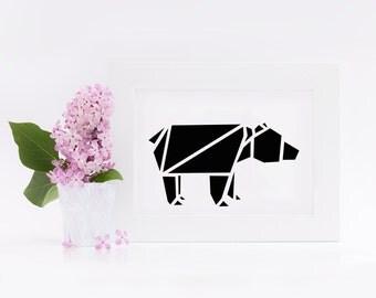 """Postcard, origami bear"""
