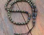 Tibetan style agate gemstone mala necklace