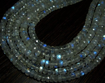 "Blue Fire Rainbow Moonstone Micro Cut Rondelles- 13"" Strand -Stones measure- 5mm"