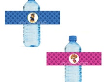 Paw Patrol themed Water Bottle Labels - Customized Digital File