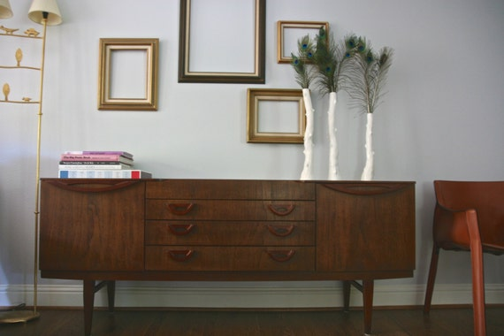 """Items similar to Vintage Mid Century Modern 72"""" Beautility buffet sideboard on"""