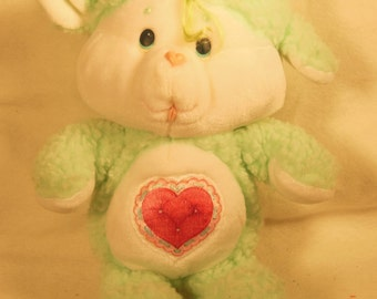 "Vintage-1984-Plush Care Bear Cousin-Gentle Heart Lamb---Kenner-13"" Tall-"