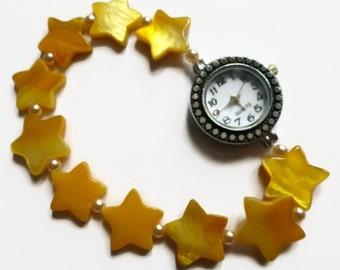 Womens watches, yellow star stretch beaded watch band, fashion watch.