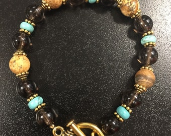 Smoky Quartz, Turquoise and Picture Jasper Toggle Bracelet
