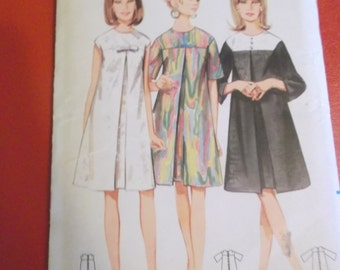 Size 12 Bust 32 1960s One Piece Dress with Front Inverted Pleats Vintage Butterick 4386 Sewing Pattern