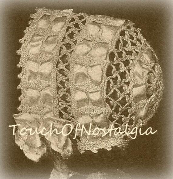 Double Crochet Baby Bonnet Pattern : DAINTY Baby BONNET Antique Crochet Pattern Heirloom