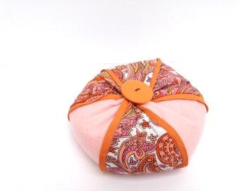 Pin Cushion/Orange Paisley & Ice Pink Felt/Orange Button