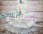 Custom color flower girl 3 tier ivory off white lace dress, flower girl gress, country flower girl, vintage flower girl, rustic flower girl,