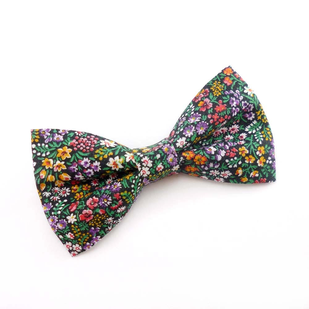 Mens Bow Tie Clip On Floral Multicolored Vintage Fabric Black