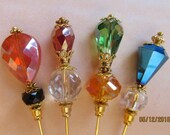 4 Diff Hatpins Beautiful Fire Crystal Beads 3 inches long. We sell hat stick pin blanks, make your own, findings supplies...S4