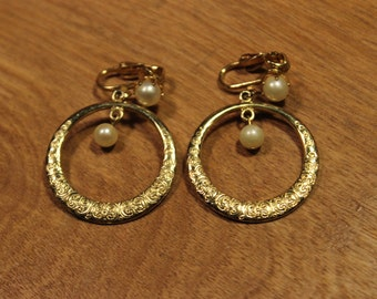 Gold Loop with Pearl Accent Clip On Earrings, item#185