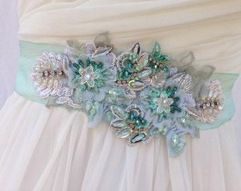 Beaded Lace Bridal Sash, Wedding Sash in Mint Green And Ivory With Crystals And Pearls, Wedding Dress Sash, Flower Sash, Bridal Belt