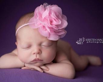 FREE SHIPPING! Newborn Headband - Pink Baby Headband, Pink Headbands, Pink Headband, Baby Girl Headband, Baby Headband