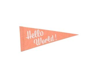 Hello World - Single Flag for Nursery Room, Kids Decor, Celebrate Baby Shower, Gender Reveal