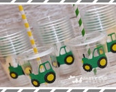 Tractor Birthday Party Cups-Favor Cups-Souvenir Cups Lids Straws