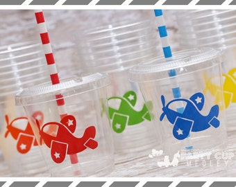 Airplane Birthday Party Cups-Favor Cups-Souvenir Cups Lids Straws