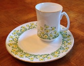 "Crown Sterling ""CSR2"" Yellow Floral Salad Plate and Mug"