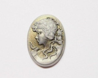 6 of 25x18 mm White over Gold and Silver Victorian Long Hair Interesting Woman Cameos, Great for Pendants, Earrings, Rings