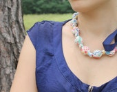 Fabric Statement Necklace,Teething Necklace, Chomping Necklace, Nursing Necklace - Primary Floral