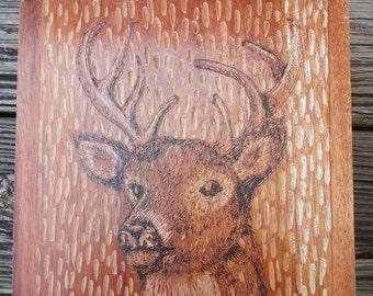 Reclaimed rustic wood burning deer cigar box