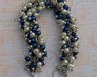 Sapphire Blue and Ivory Pearl Cluster Necklace/Bracelet