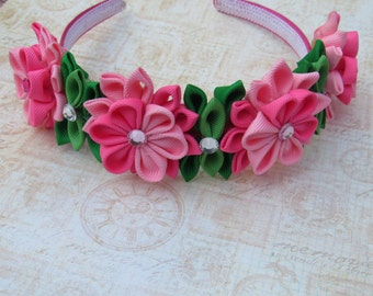 Hot Pink and Light Pink Kanzashi Flower Headband/Crown
