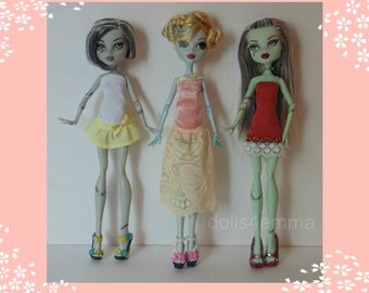 Monster High Doll Clothes - Lot of 3 Handmade Custom Sweet Spring Dresses #35 - by dolls4emma