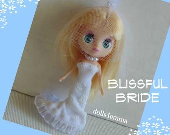 3pc BRIDE handmade Wedding Gown Veil Jewelry Clothes for Littlest Pet Shop & Petite Blythe Fashion