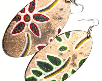 Vintage Flower Abstract Earrings, Drop, Mixed Media, Red, Green, Grey, Wooden, Painted