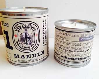 Mandle Soy Candle for Man Vice No 1 Black Coffee and Tobacco- gift for him, birthday gift, Christmas gift, Father's Day gift. Vegan.