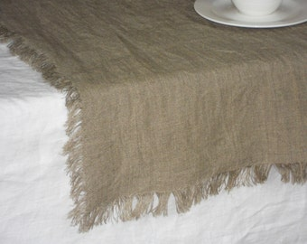 Taupe table runner, rough rustic frayed natural linen washed flax table topper in shabby chic vintage style