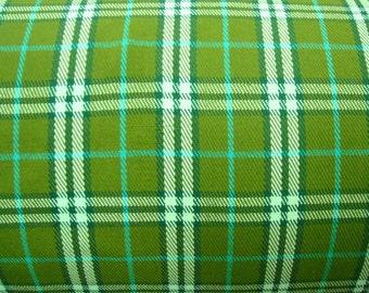 Handwoven avocado green plaid fabric, green tartan fabric, crafting fabric, sold per yard