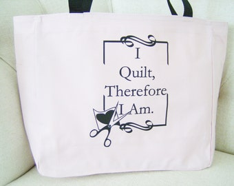 Quilting themed tote bag - quilting gift - polyester crafting tote bag - quilting craft tote bag - original design quilting bag - quilting