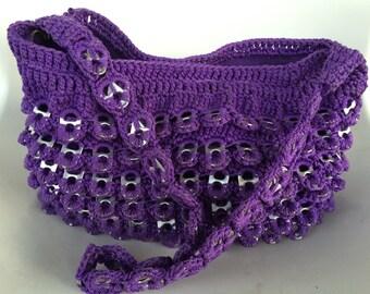 Hand-Made Knitted Soda Tab Purple Women's Handbag