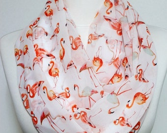 Flamingo pattern Infinity scarf, Circle scarf, scarves, Long scarf, shawls, spring - fall - winter - summer fashion
