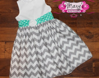 Teal and Gray Party Dress