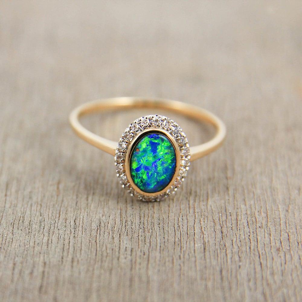 Black Opal & Diamond Engagement Wedding Ring 14K Gold Natural
