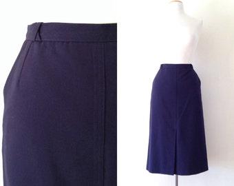 navy pencil skirt / high waisted skirt / vintage 70s skirts knee length navy blue