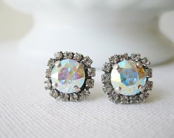 Aurora Borealis Halo Stud Earrings AB Crystal Bridesmaid Earrings Bridal Jewelry Wedding Jewelry Rainbow earrings Swarovski Elements