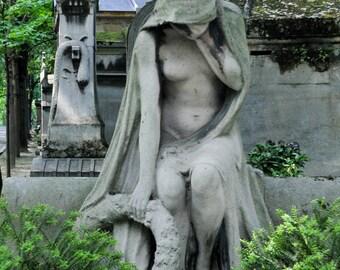 The Weeping. | Paris Cemetery Sculpture Angel Weeping Garland Cement Fine Art Photography  8x10