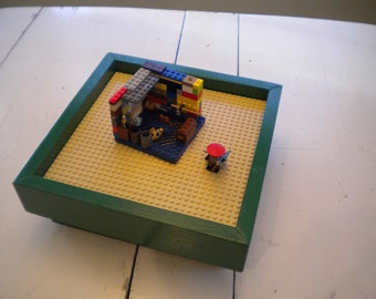"""Green Play Table for LEGO® Bricks with 10""""x10"""" tan baseplate.  Storage table for LEGO Bricks.  Portable play station for LEGO Bricks."""